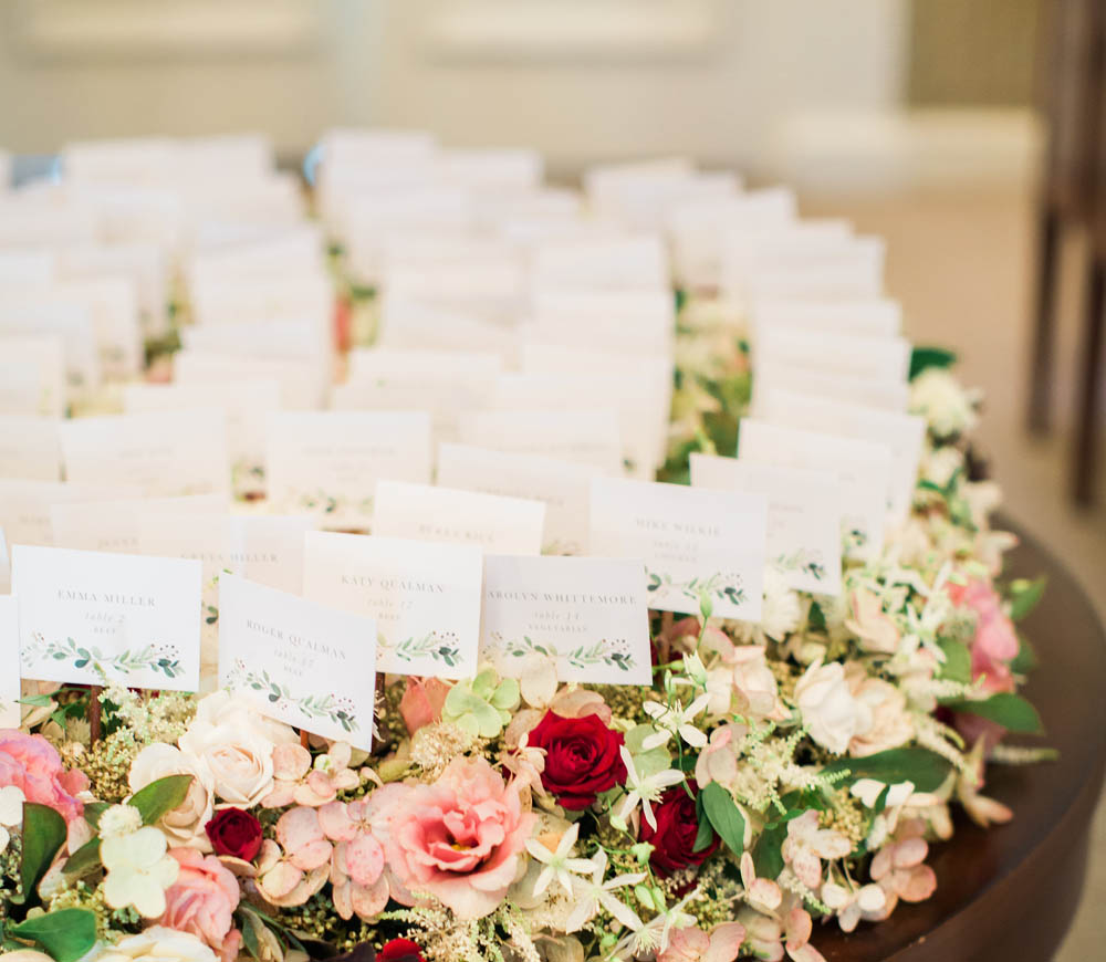 floral design at the Waverley Country Club wedding name tags