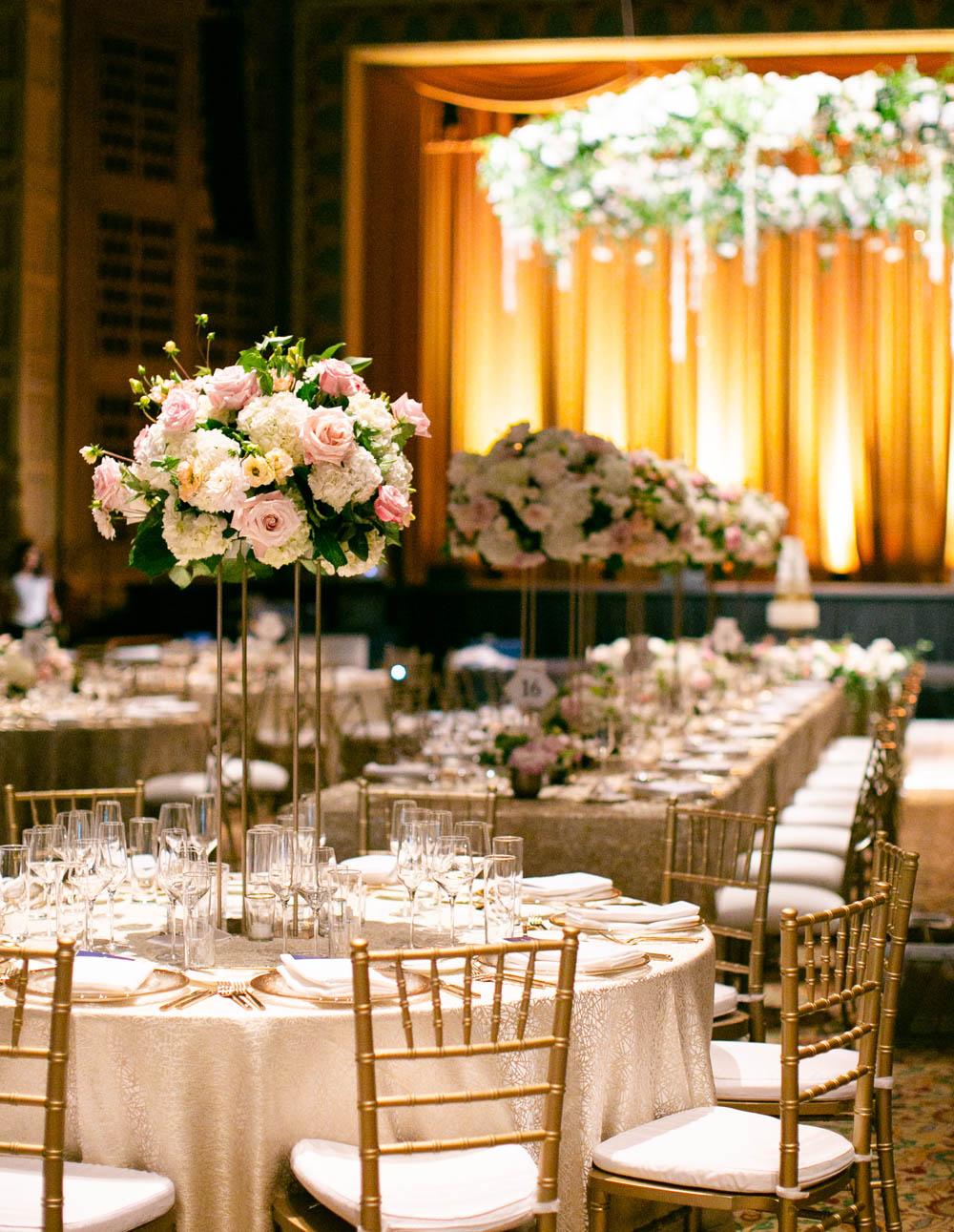 Portland Art Museum wedding dinner flowers