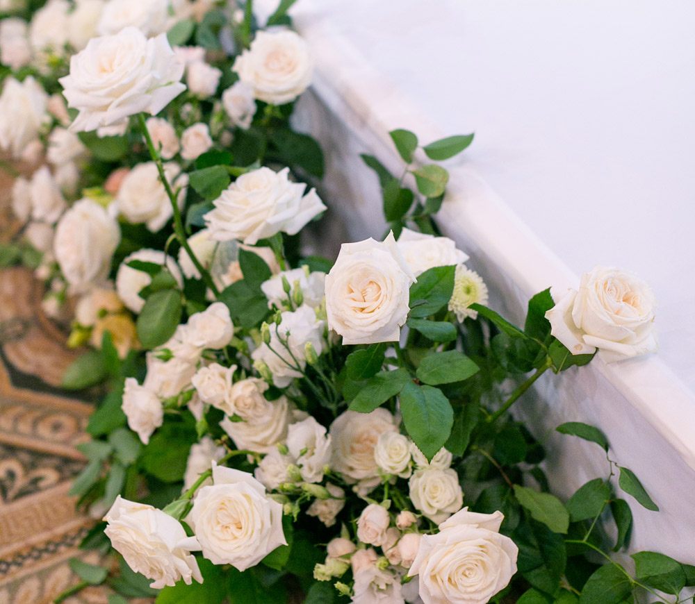 Portland Art Museum white roses floral design