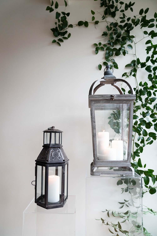 Bronze and White Washed Lanterns
