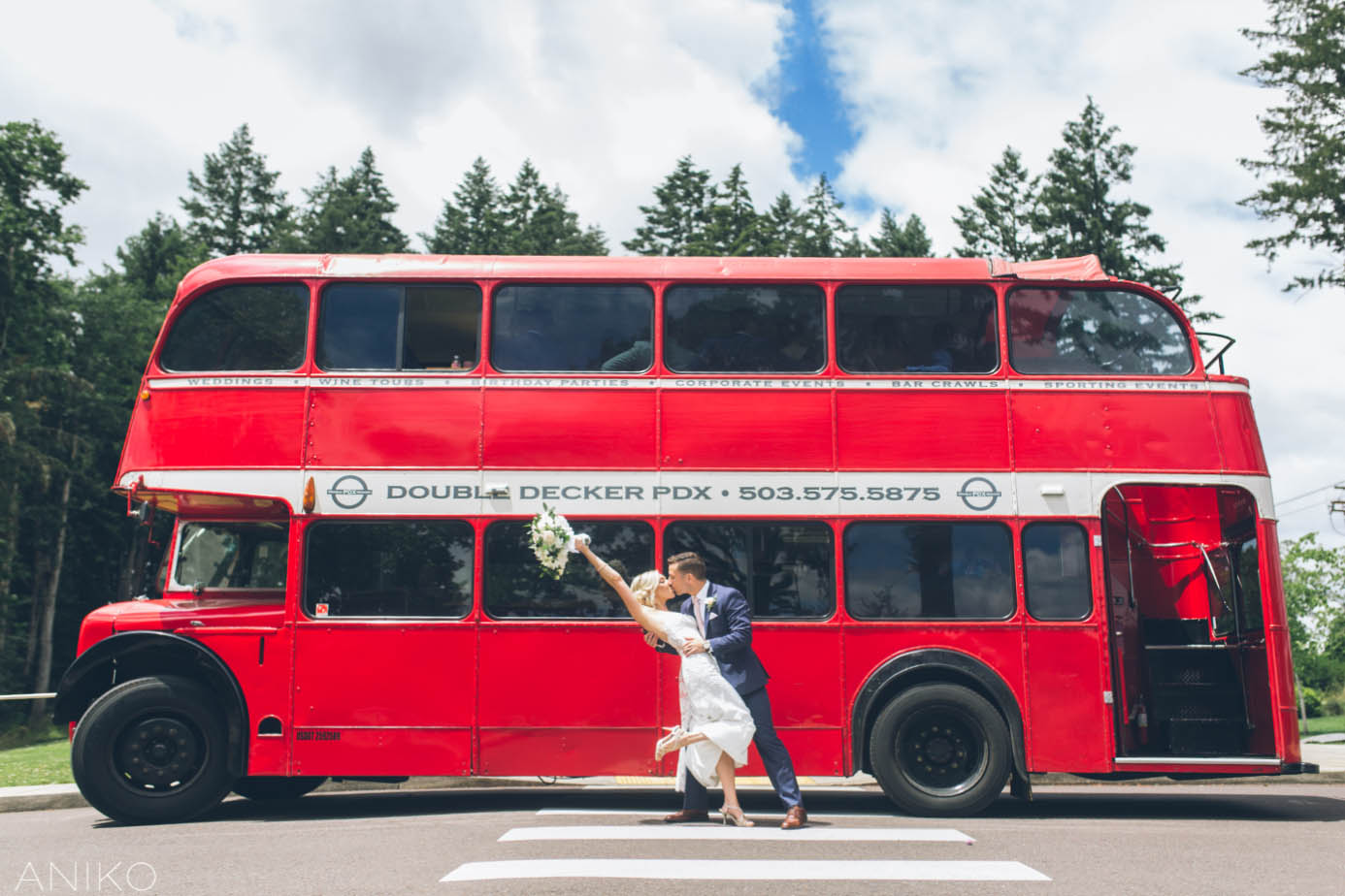 Coopers Hall Wedding bride and groom in front of double decker bus
