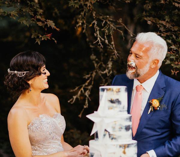 Garden wedding father and bride