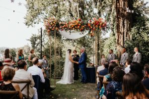 Garden wedding ceremony flower design