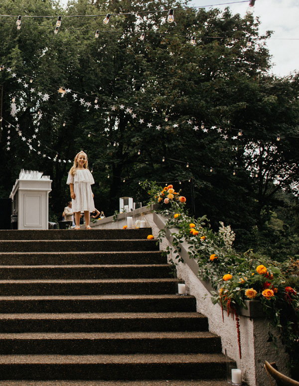 Garden wedding flower girl
