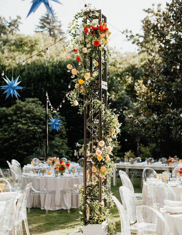 garden wedding flower tower