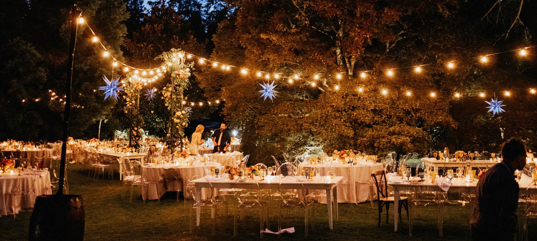 Garden Wedding Floral design night shot