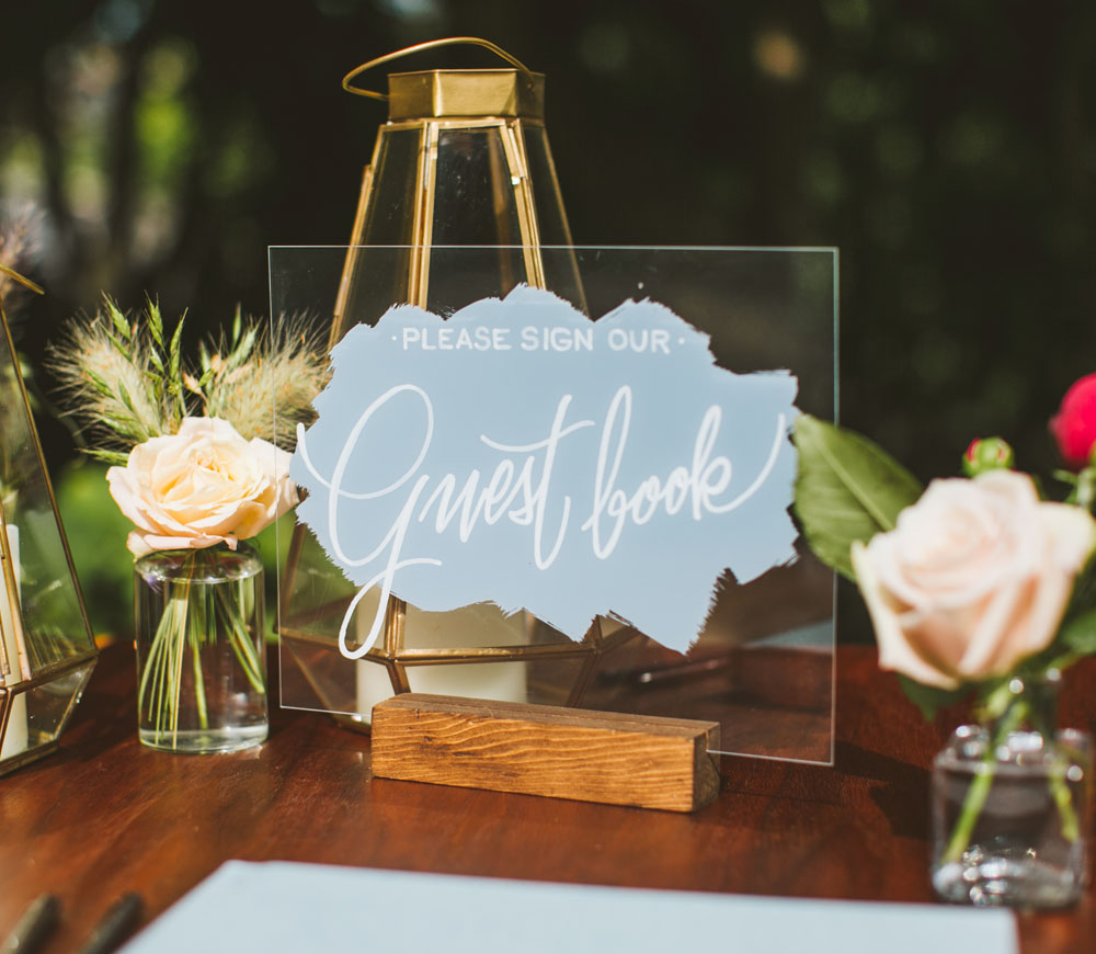 garden wedding guestbook floral design