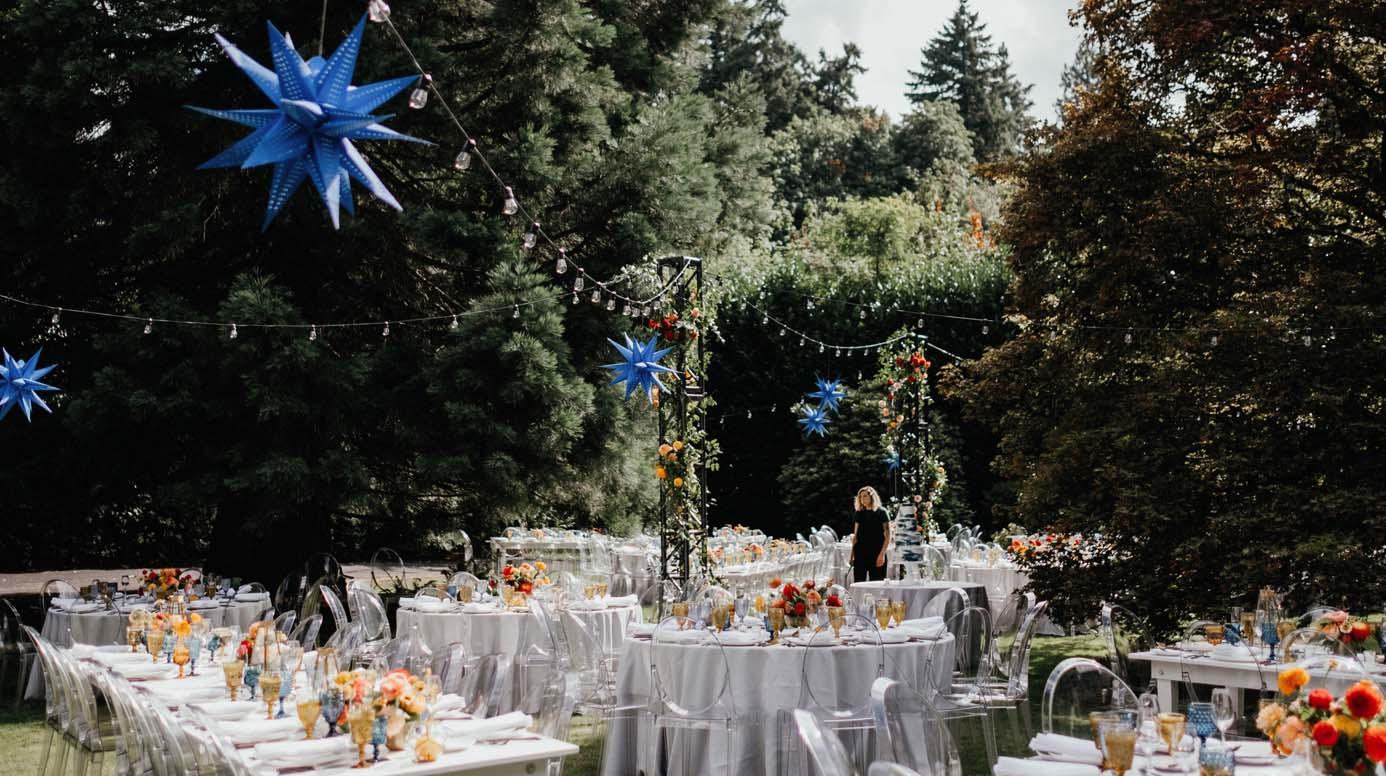 Garden wedding seating area floral design