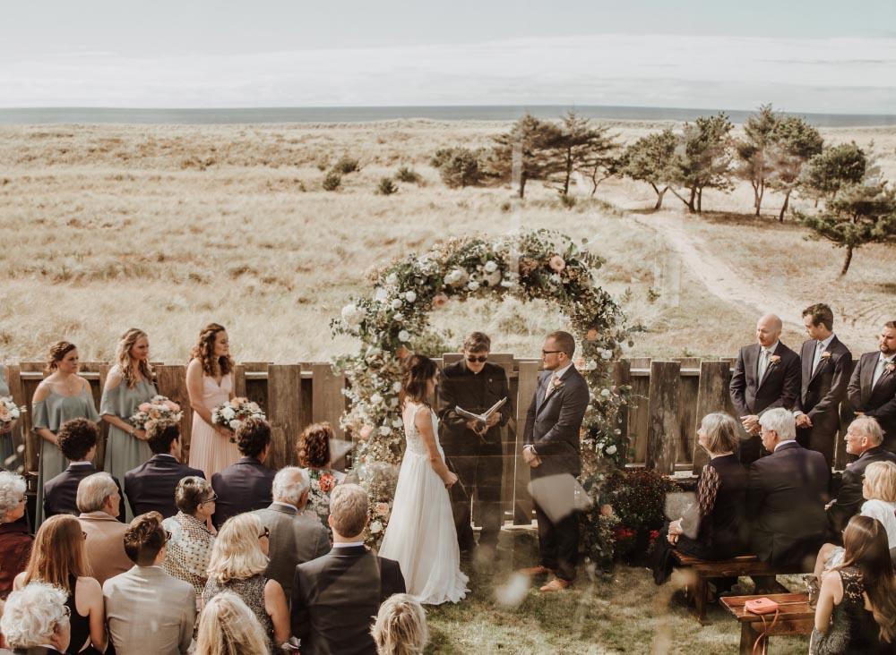 Oregon Coast wedding floral design ceremony