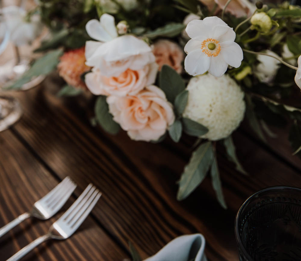 Oregon coast wedding floral design place setting