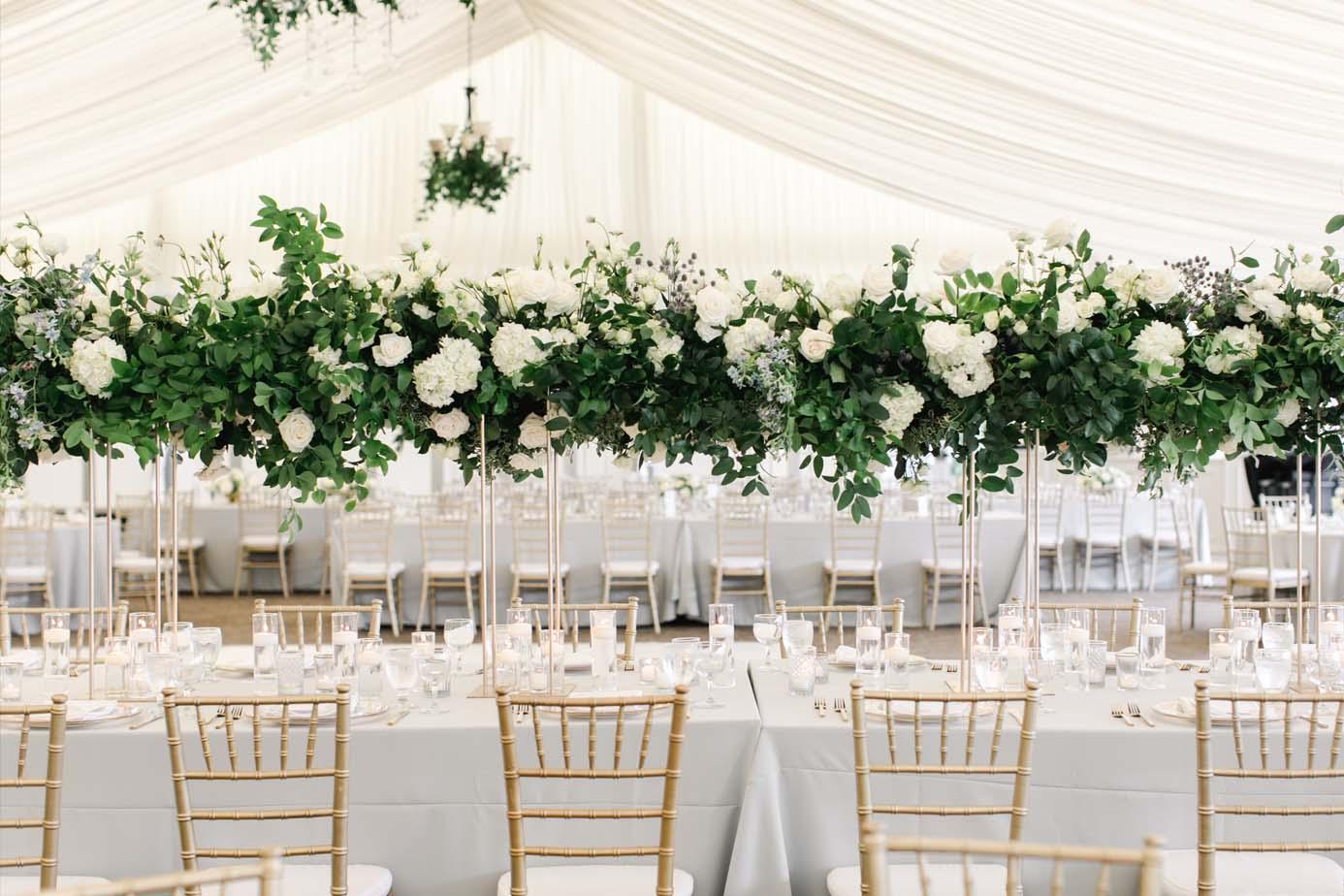 Oregon Golf Club wedding tent floral design