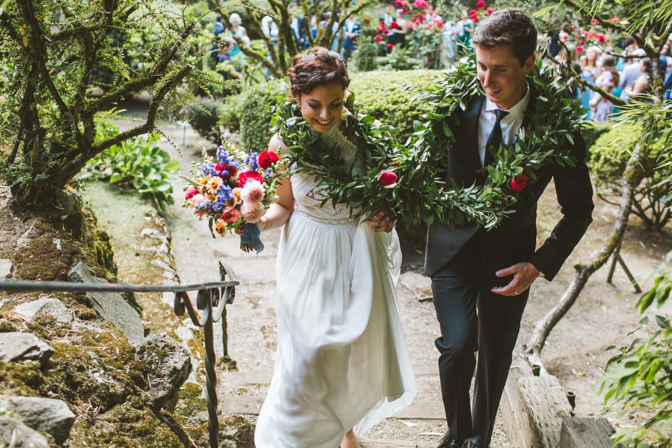 Portland Garden Wedding bride and groom ceremony flowers