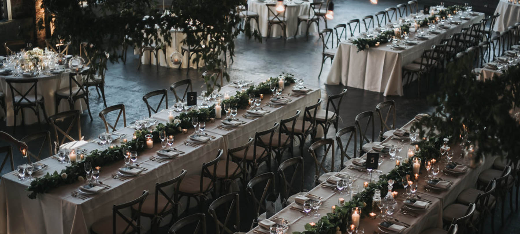 Wedding at Leftbank Annex floral design dining room overview