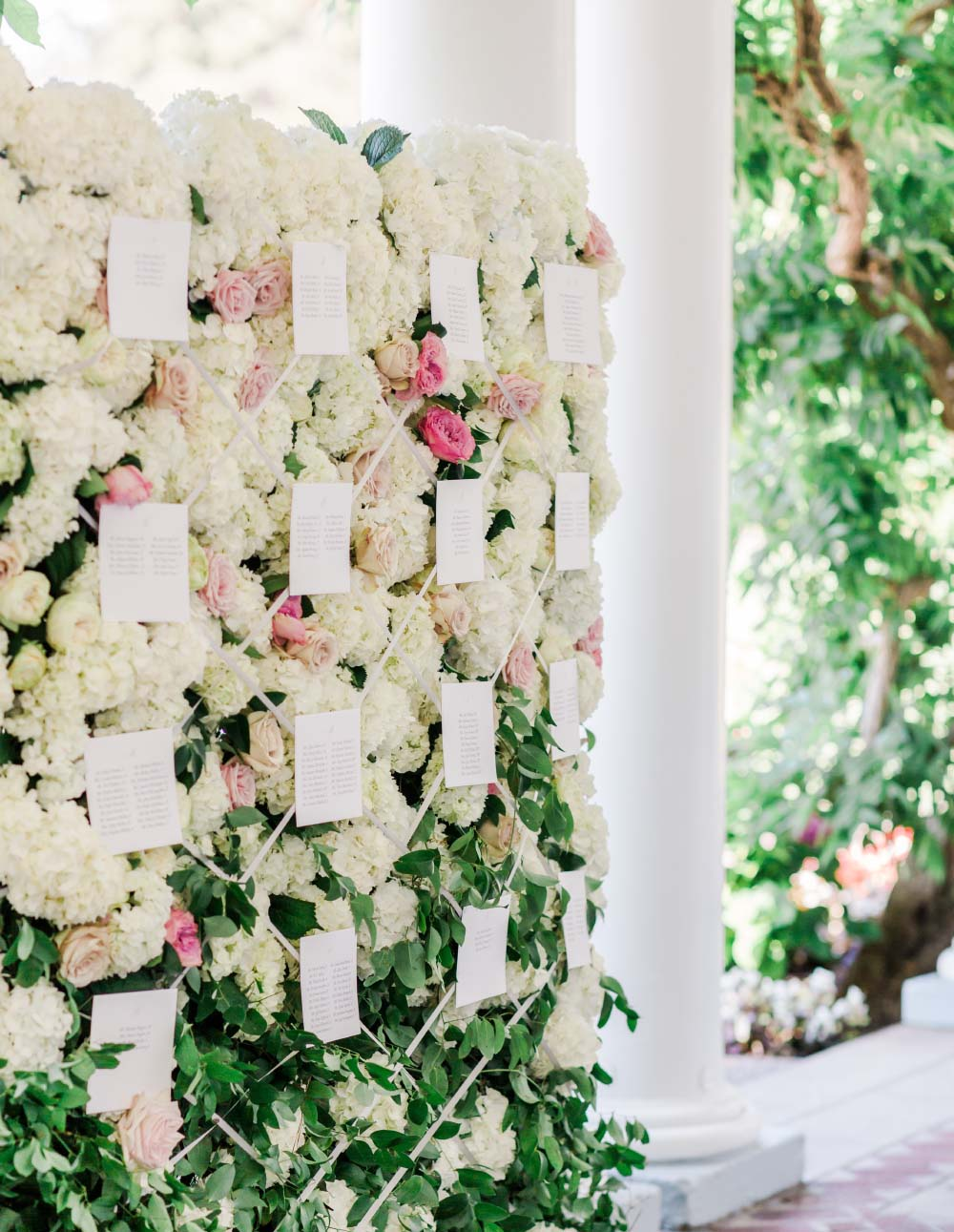 Wedding at the Waverley Country Club wall of flowers