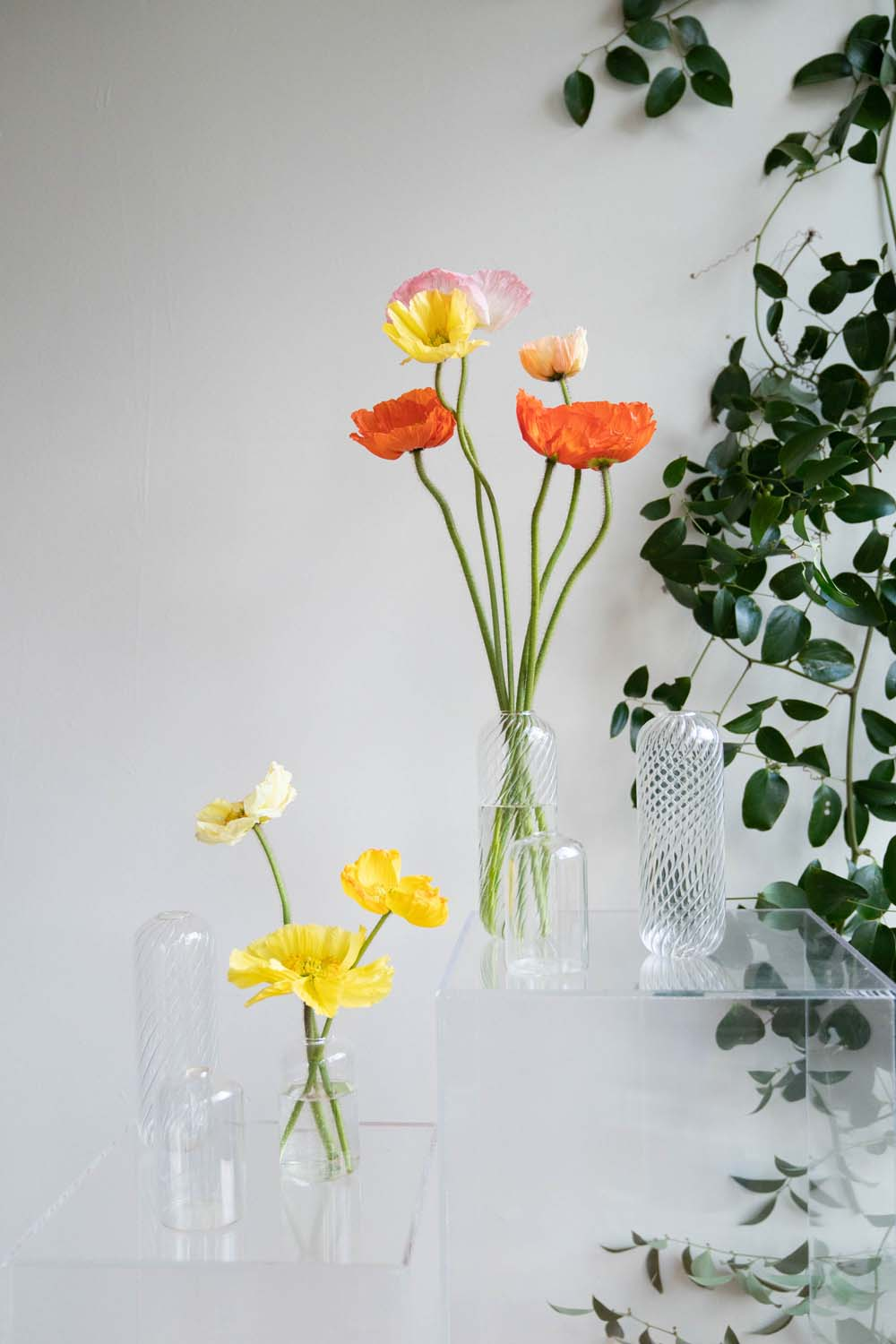 Clear glass bud vases