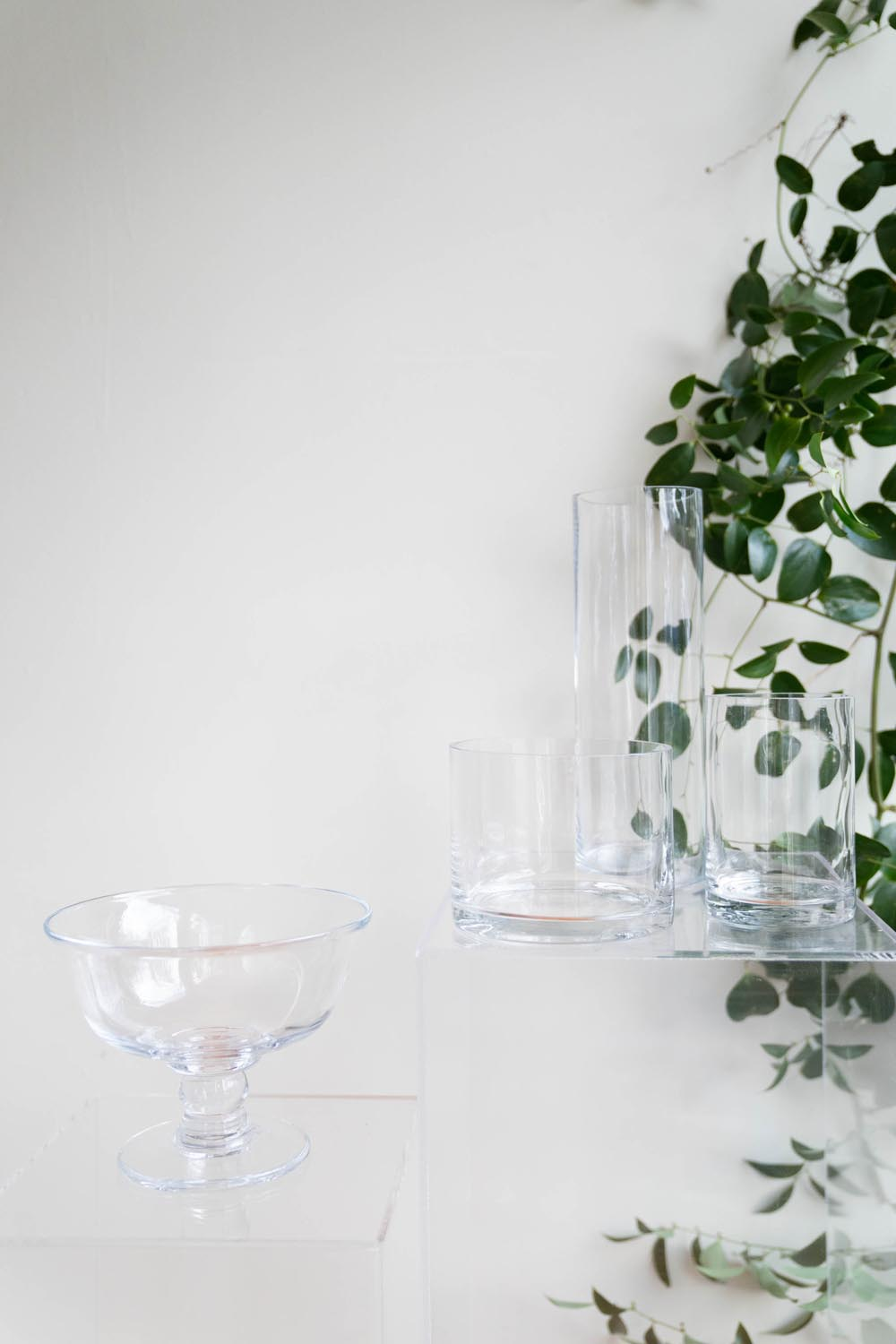 Clear glass compote vases
