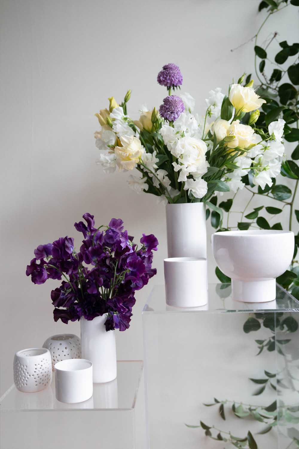Glossy White Vases & Candles