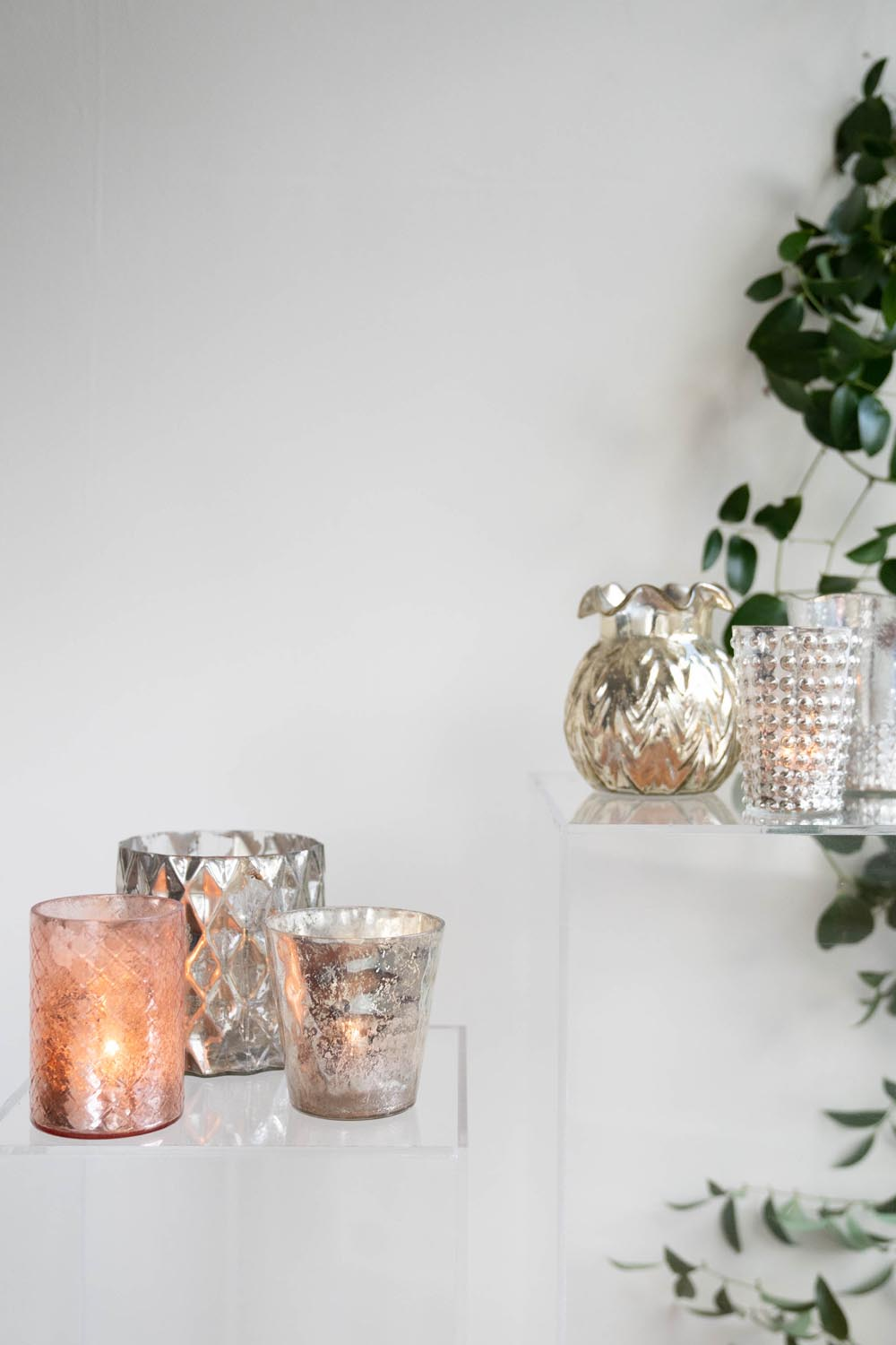 Mercury vases and candle holders