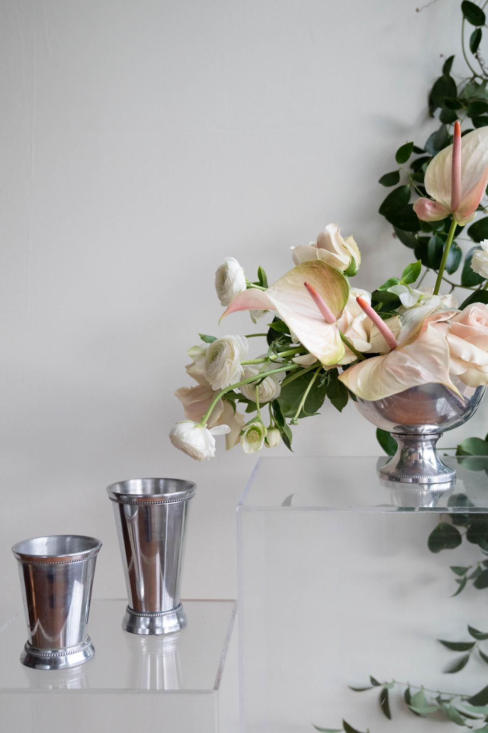 Silver mint juleps & compote vases