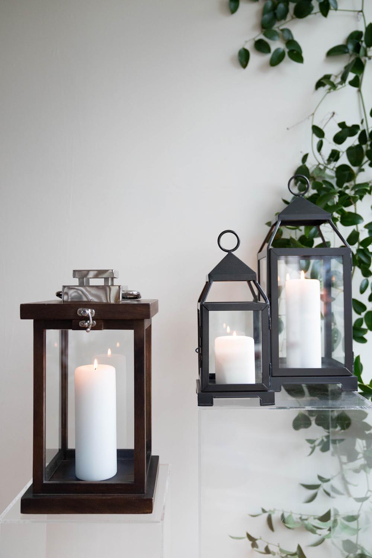 Wood lanterns and black malta lanterns