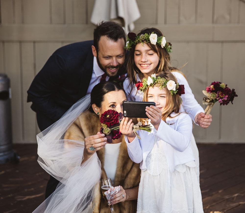 Black Butte Ranch wedding portrait flowers